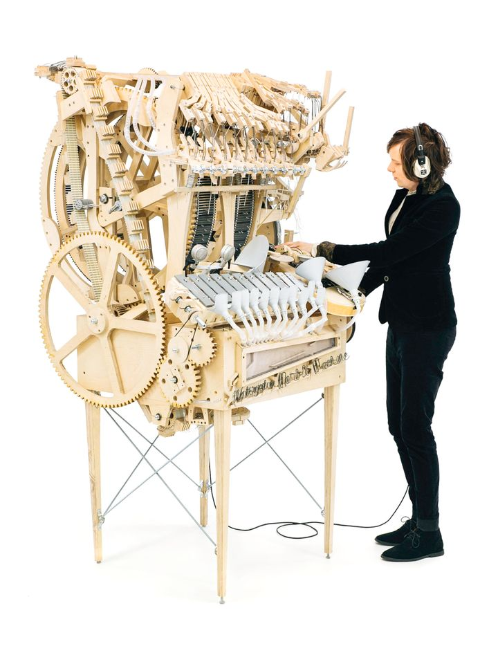 Swedishmusician Martin Molin spent a year on a machine that turns marbles into part of a musical instrument.