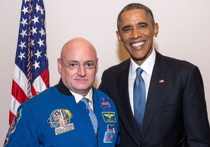 President Barack Obama greets Scott Kelly following theState of the Union address at the U.S. Capitol in January 2015.