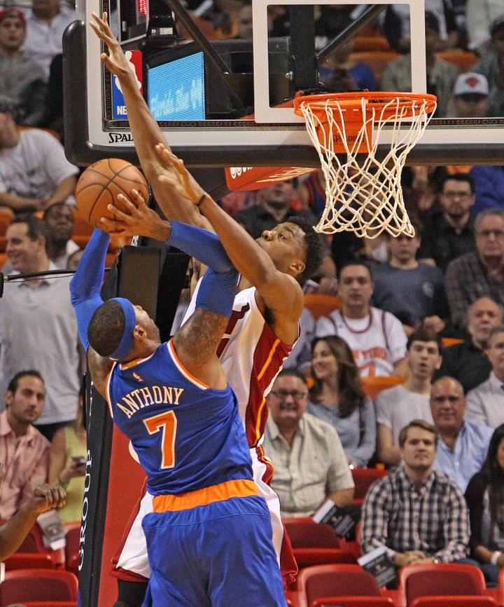 """Whiteside tells HuffPost that Carmelo Anthony """"wants to draw contact and use his shoulders and his size and jump into you and"""