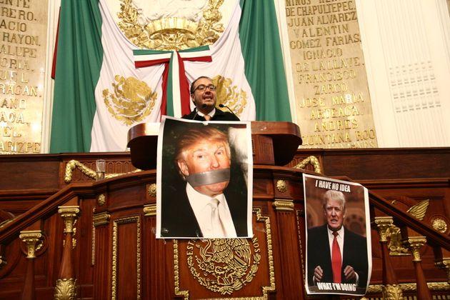 Deputy Mauricio Alonso Toledo Gutierrez speaks before the Mexico City legislature. The legislature voted...