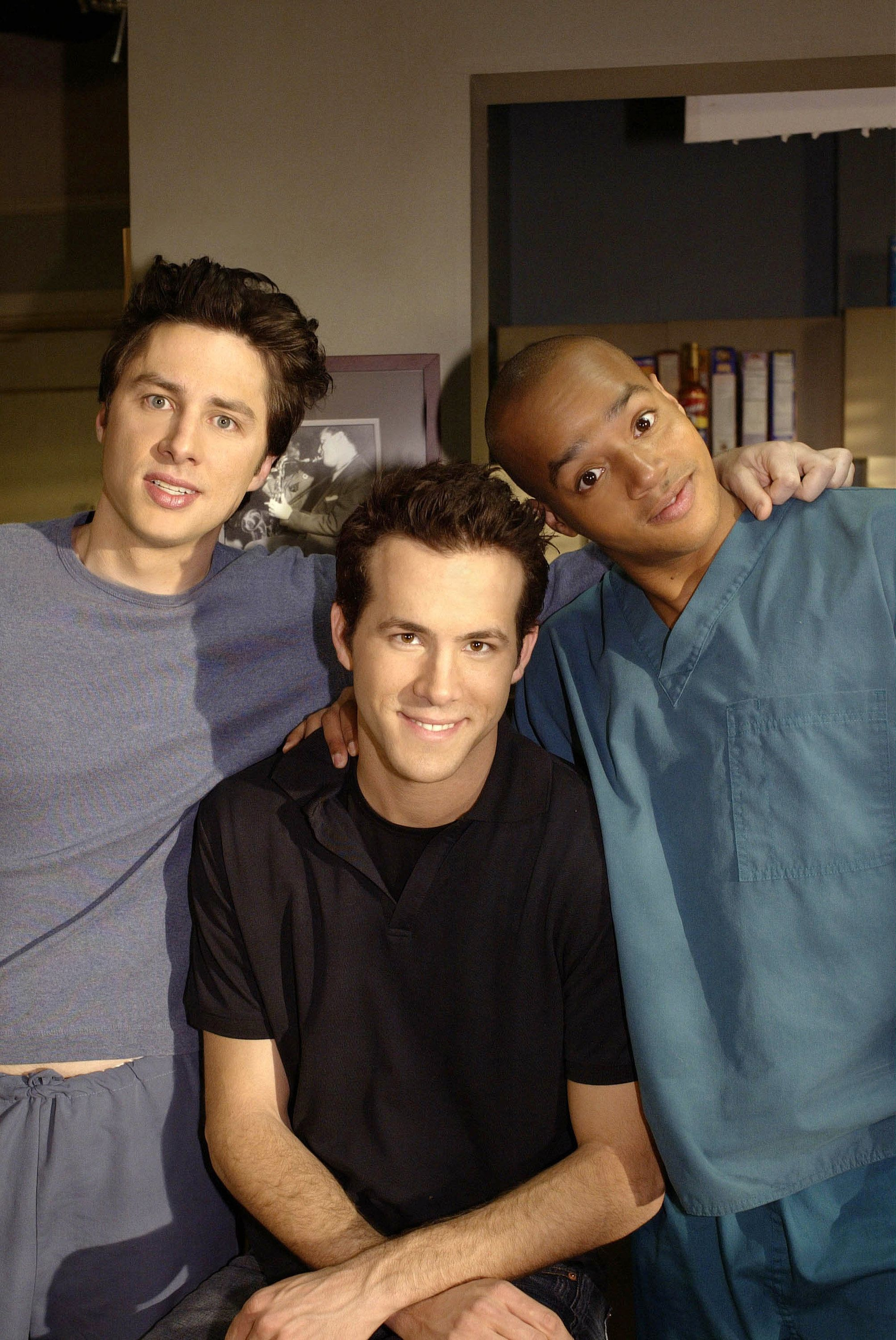 SCRUBS -- 'My Dream Job' Episode 22 -- Pictured: (l-r) Zach Braff as Dr. John 'J.D.' Dorian, Ryan Reynolds as Spence, Donald Faison as Dr. Christopher Turk -- (Photo by: Mitch Haddad/NBC/NBCU Photo Bank via Getty Images)