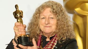HOLLYWOOD, CA - FEBRUARY 28: Jenny Beavan, winner of the Best Costume Design award for 'Mad Max: Fury Road,' poses in the press room at the 88th Annual Academy Awards at Hollywood & Highland Center on February 28, 2016 in Hollywood, California. (Photo by Dan MacMedan/WireImage)