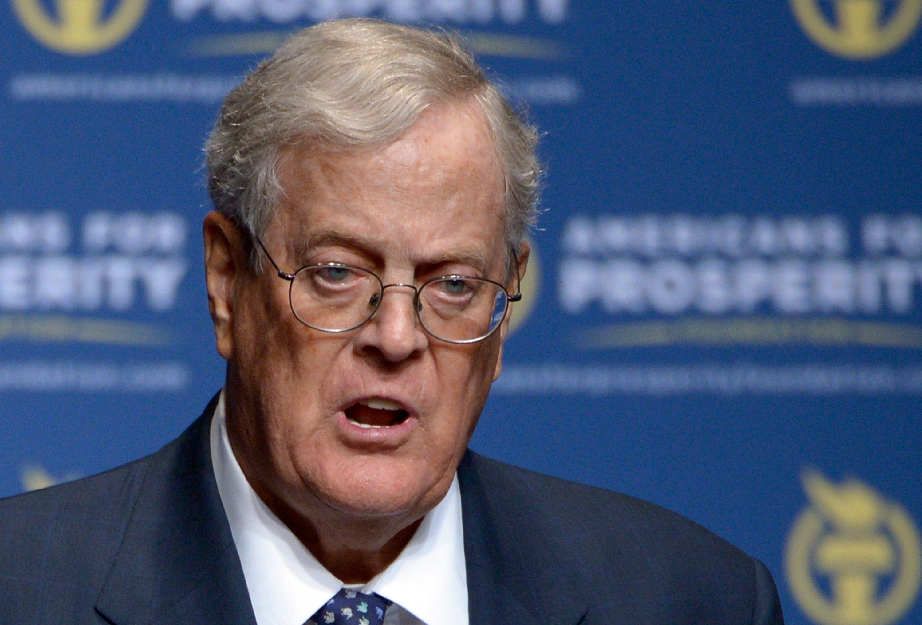 FILE - In this Aug. 30, 2013 file photo, Americans for Prosperity Foundation Chairman David Koch speaks in Orlando, Fla. For as often as Democrats attack the conservative billionaires Charles and David Koch for their heavy spending on politics, it's actually the liberal-minded who shelled out the most cash on the just completed midterm elections. (AP Photo/Phelan M. Ebenhack, File)