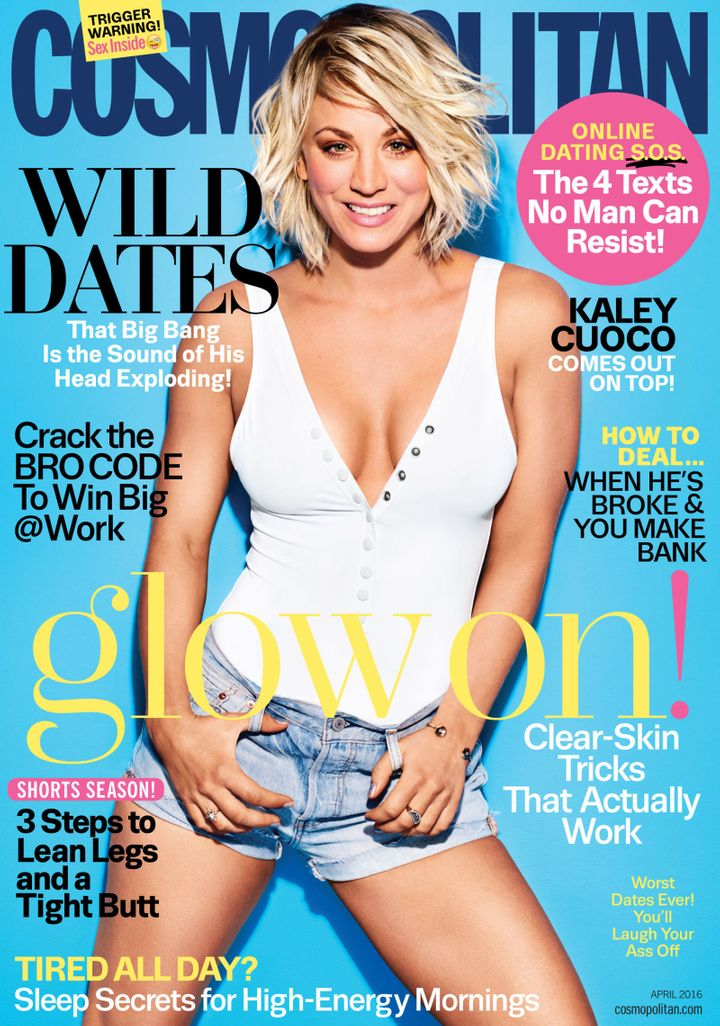 Kaley Cuoco on the cover of Cosmopolitan's April 2016 issue.