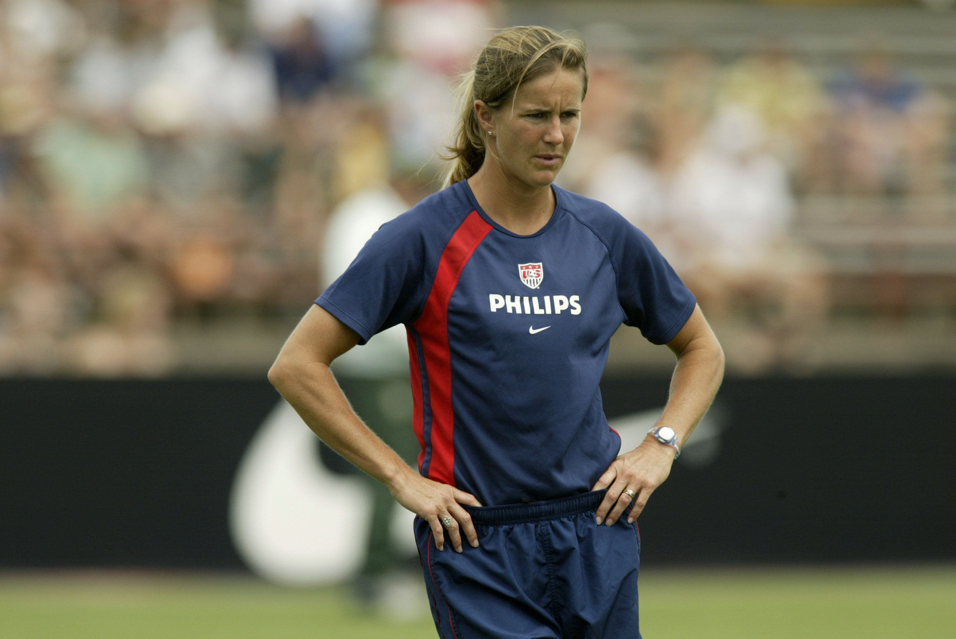 NEW ORLEANS - JULY 13:  Brandi Chastain of the U.S. Women's national team warms up prior to their match against the Brazil Women's national team at Tad Gormley Stadium on July 13, 2003 in New Orleans, Louisiana.  The U.S. defeated Brazil 1-0.  (Photo by Ronald Martinez/Getty Images)