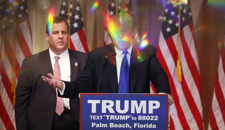 This is what Chris Christie looked like during Donald Trump's press conference.