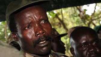(FILES) A file photo taken on November 12, 2006, shows the leader of the Lord's Resistance Army (LRA), Joseph Kony, answering journalists' questions in Ri-Kwamba, southern Sudan, following a meeting with UN humanitarian chief Jan Egeland. The UN Security Council on January 16, 2009 strongly condemned recent attacks by Ugandan rebels of the Lord's Resistance Army in neighboring Democratic Republic of Congo and South Sudan and urged them to disarm. The 15-member body noted that these attacks 'have resulted in over 500 dead and over 400 abducted, as well as the displacement of over 104,000 people.'  AFP PHOTO /STUART PRICE (Photo credit should read STUART PRICE/AFP/Getty Images)
