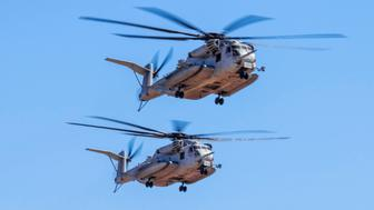 Three CH-53E Super Stallion (Sikorsky) Helicopter formation