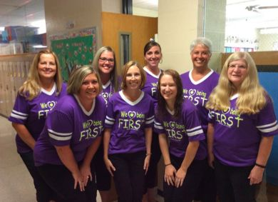Tera Sperfslage with her fellow first grade teachers and secretary at Parkside Elementary School.