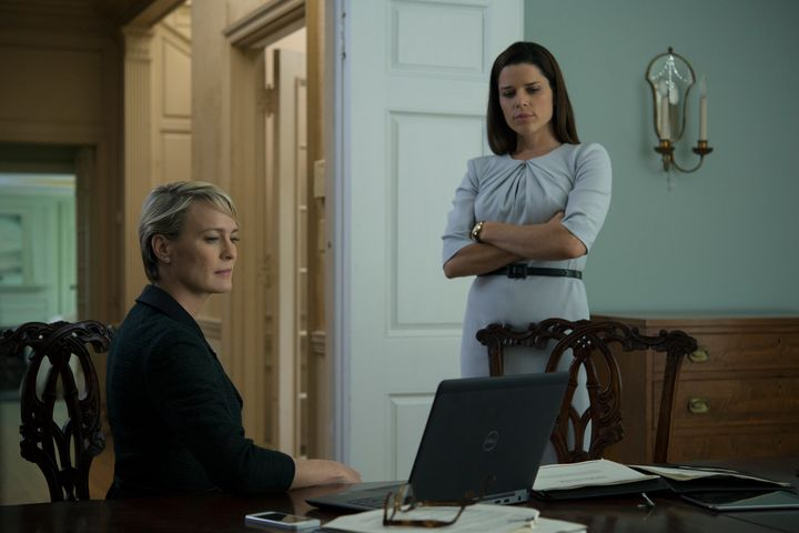 Neve Campbell as Leann Harvey, right, alongside Robin Wright as Claire Underwood.