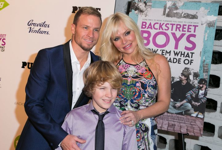 Singer Brian Littrell of The Backstreet Boys, wife Leighanne Wallace and son Baylee Littrell at the L.A.premiere of 'Ba