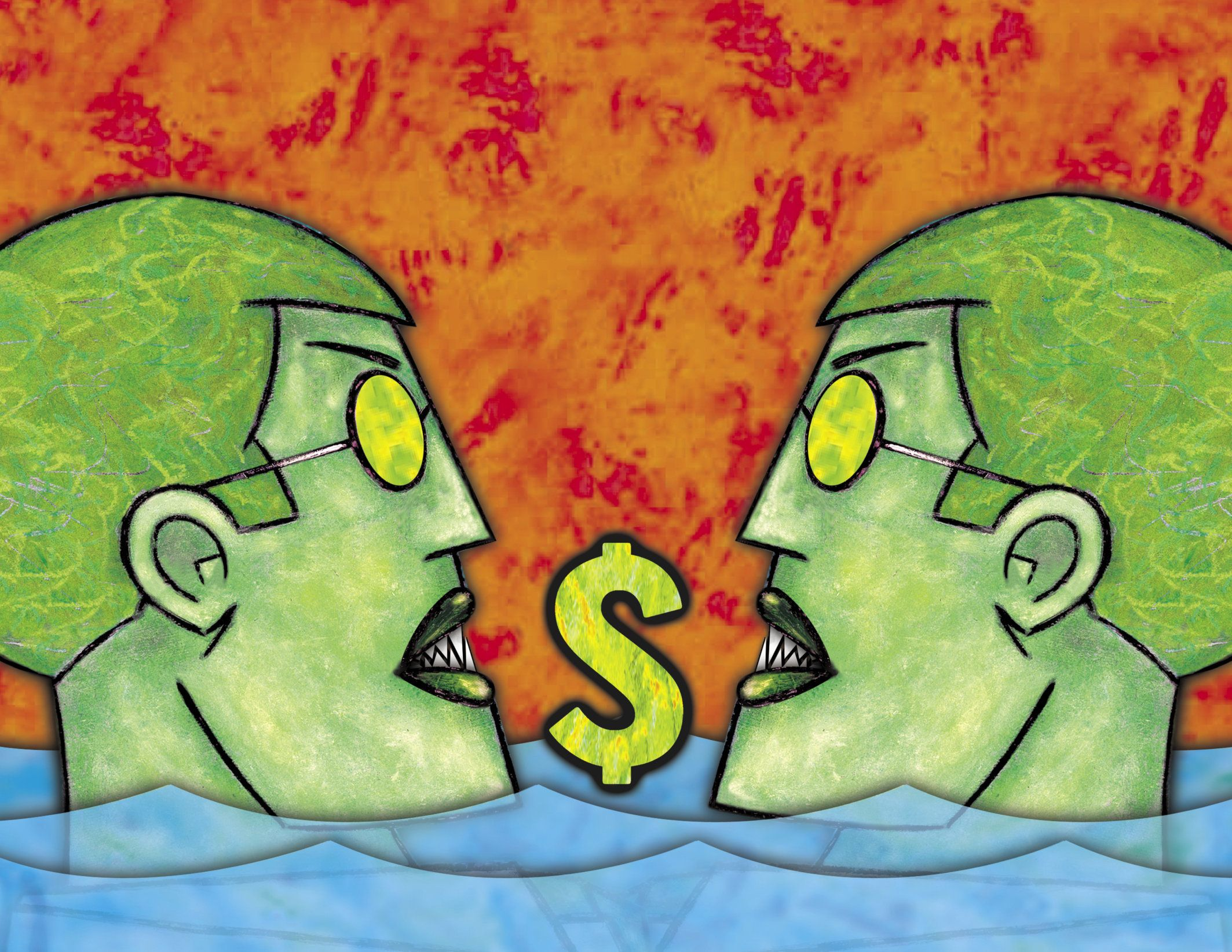 An illustration of two green people in water with a dollar sign between them