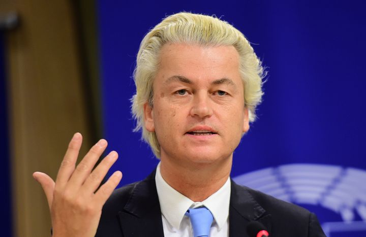 Geert Wilders of the Dutch Freedom Party holds a press conference at the European Parliament in Brussels. Wilders expres