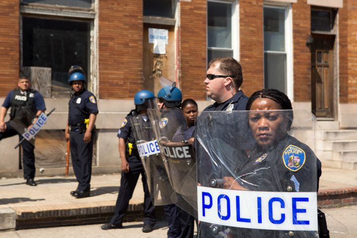 Police in Baltimore several days after riots broke out after the death of Freddie Gray.