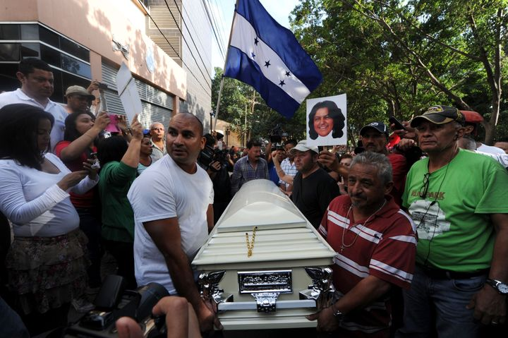 Relatives and friends carry the coffin of murdered indigenous activist Berta Caceres during her funeral in La Esperanza on Th