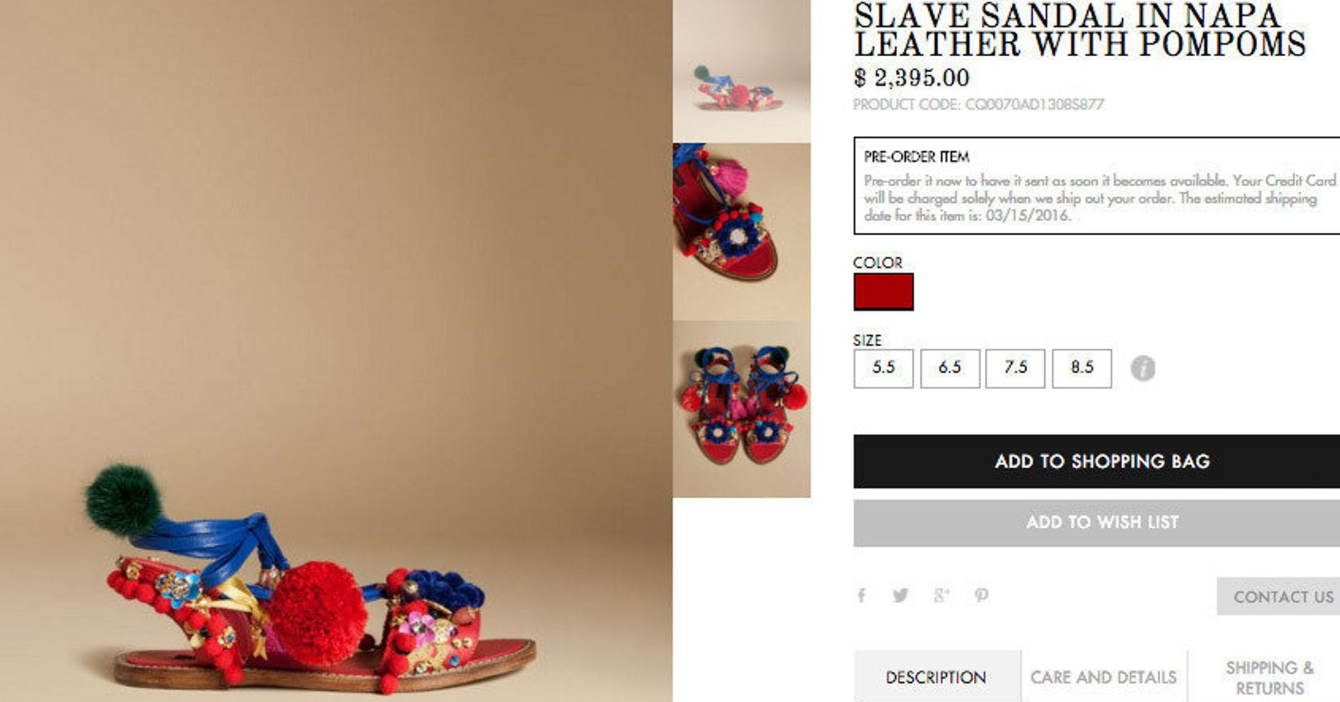 54b21340 Dolce & Gabbana Sells 'Slave Sandals' On Its Website | HuffPost Life