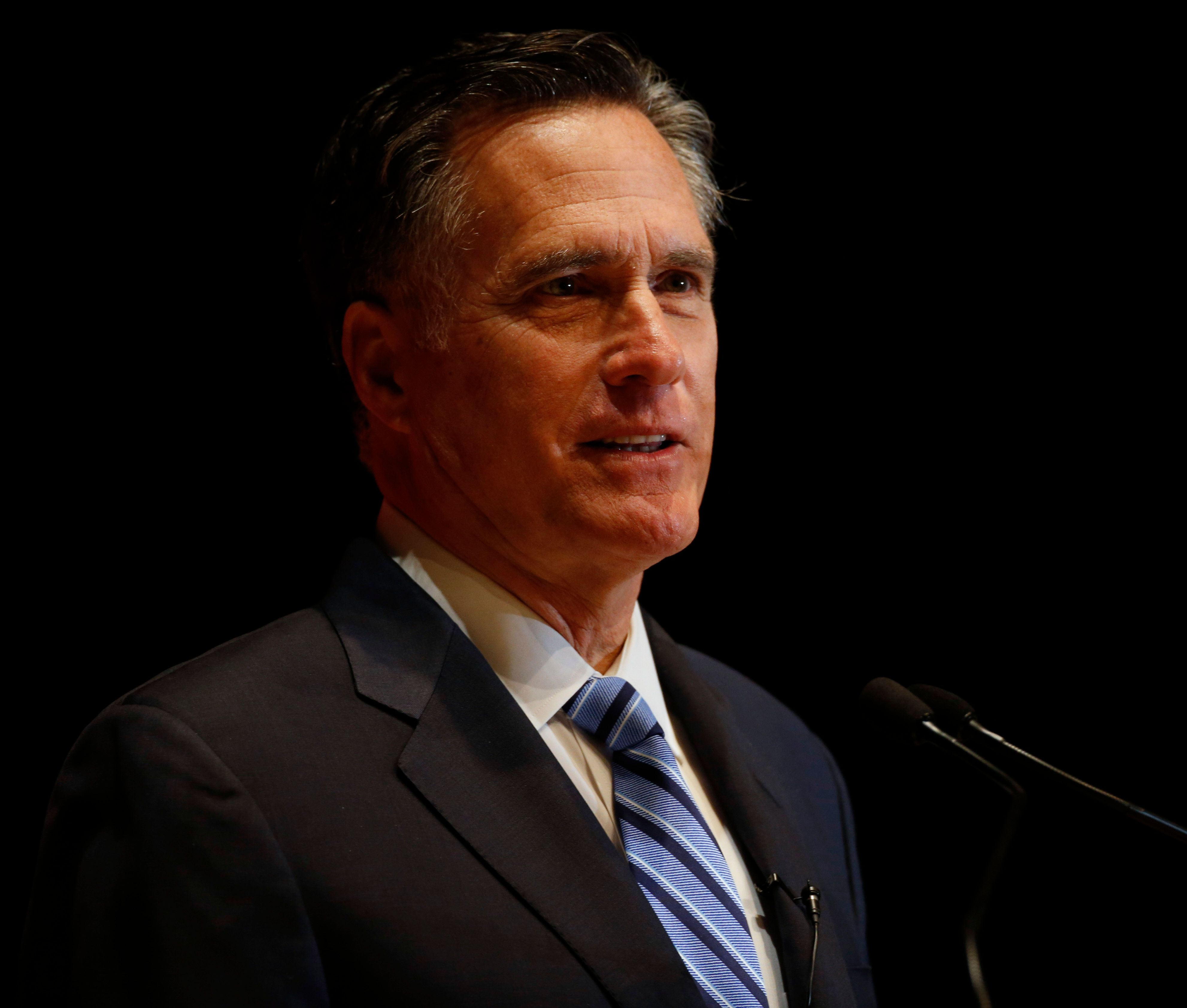 SALT LAKE CITY, UT - MARCH 3: Mitt Romney gives a speech on the state of the Republican party at the Hinckley Institute of Politics on the campus of the University of Utah on March 3, 2016 in Salt Lake City, Utah.  Romney spoke about Donald Trump calling him a fraud and arguing against his nomination.  (Photo by George Frey/Getty Images)