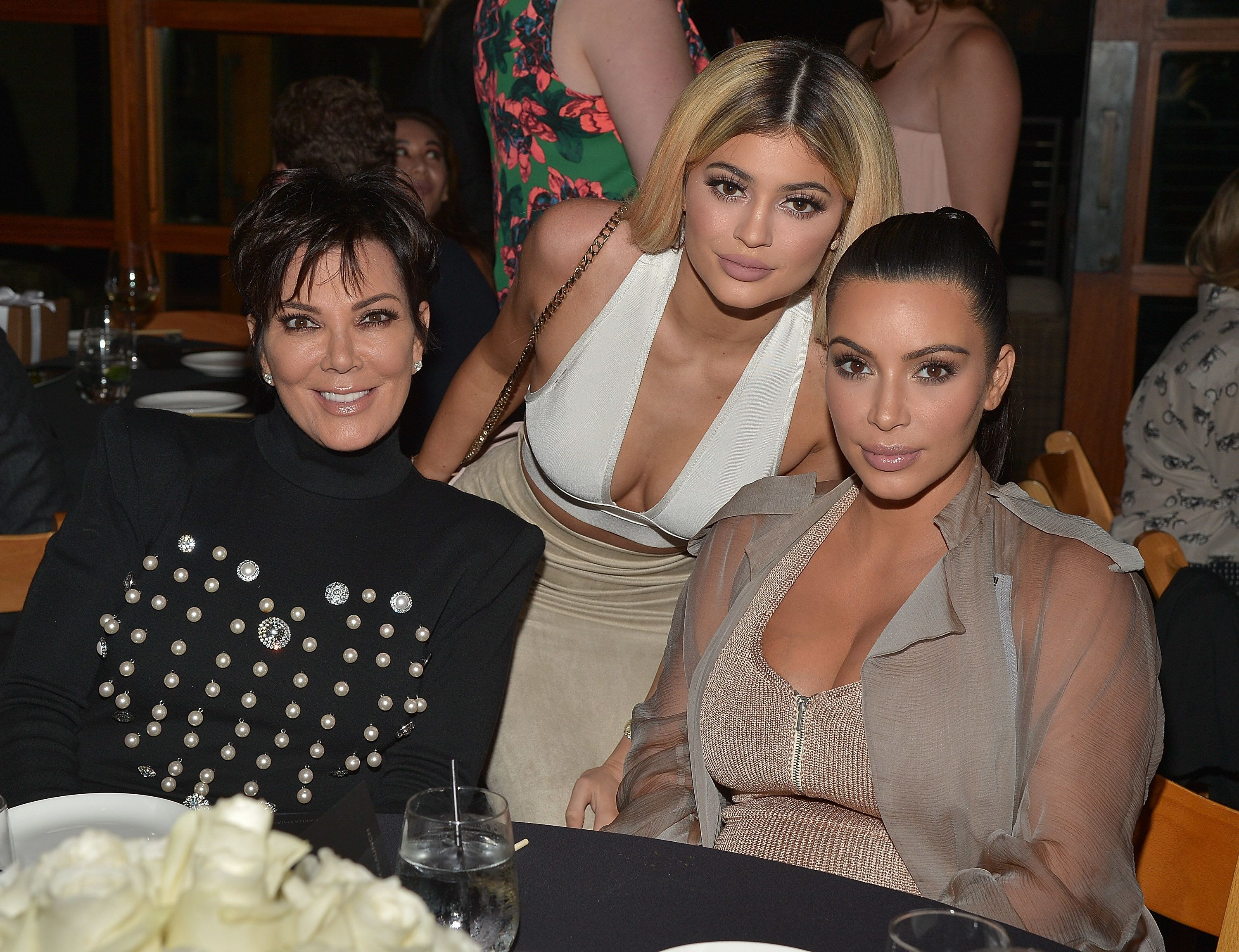MALIBU, CA - SEPTEMBER 01:  Kim Kardashian West, Kylie Jenner, Khloe Kardashian and Kris Jenner, Kylie Jenner and Kim Kardashian West host a  dinner and preview of their new apps launching soon at Nobu Malibu on September 1, 2015 in Malibu, California.  (Photo by Charley Gallay/Getty Images for Kardashian/Jenner Apps)