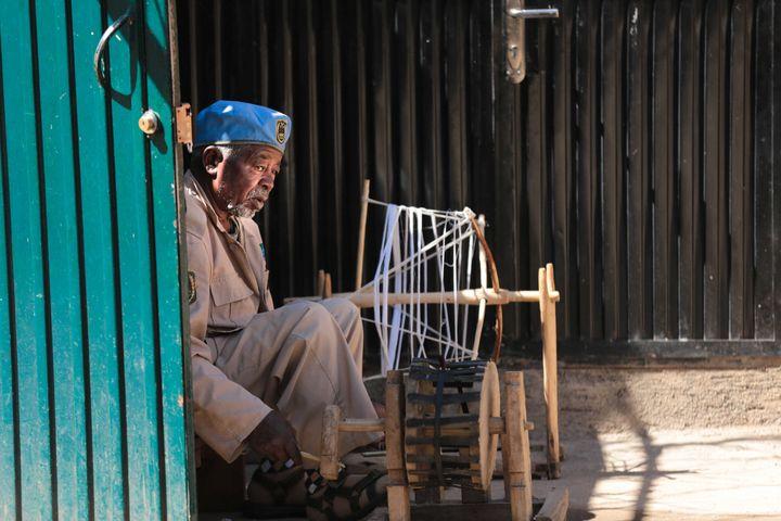 Tariku, an Ethiopian weaver.