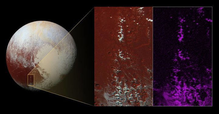 This color-enhanced image highlights the region where scientists say they found snow on Pluto.