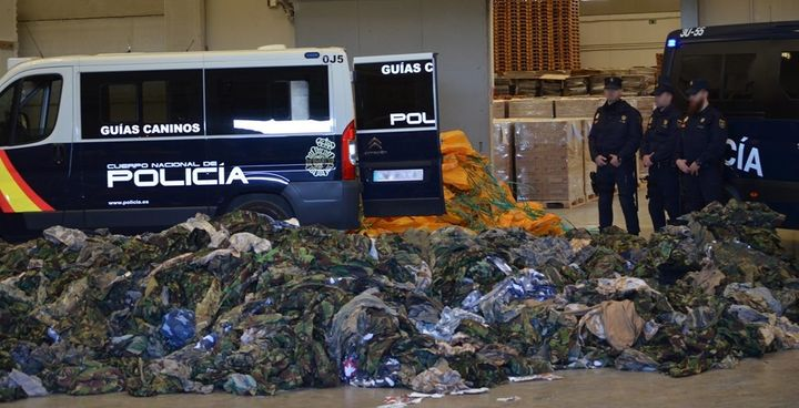 Spain announced that it had intercepted a massive shipment of military equipment, including 20,000 uniforms, that had been bo