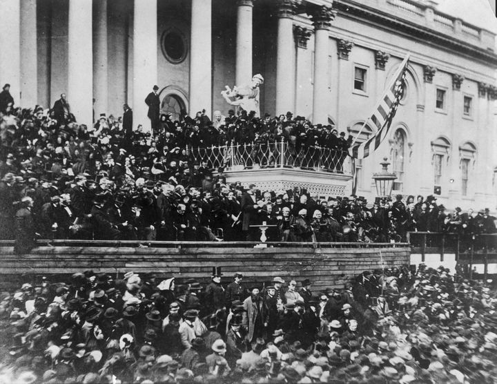 President Abraham Lincoln makeshis inaugural speech during his second inauguration.