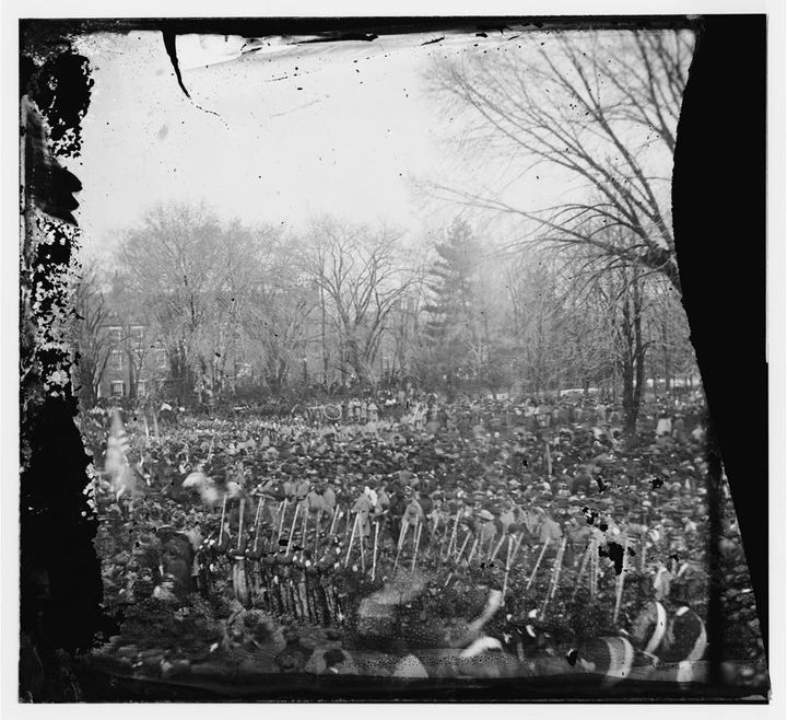 Onlookers watch during President Abraham Lincoln's second inauguration.