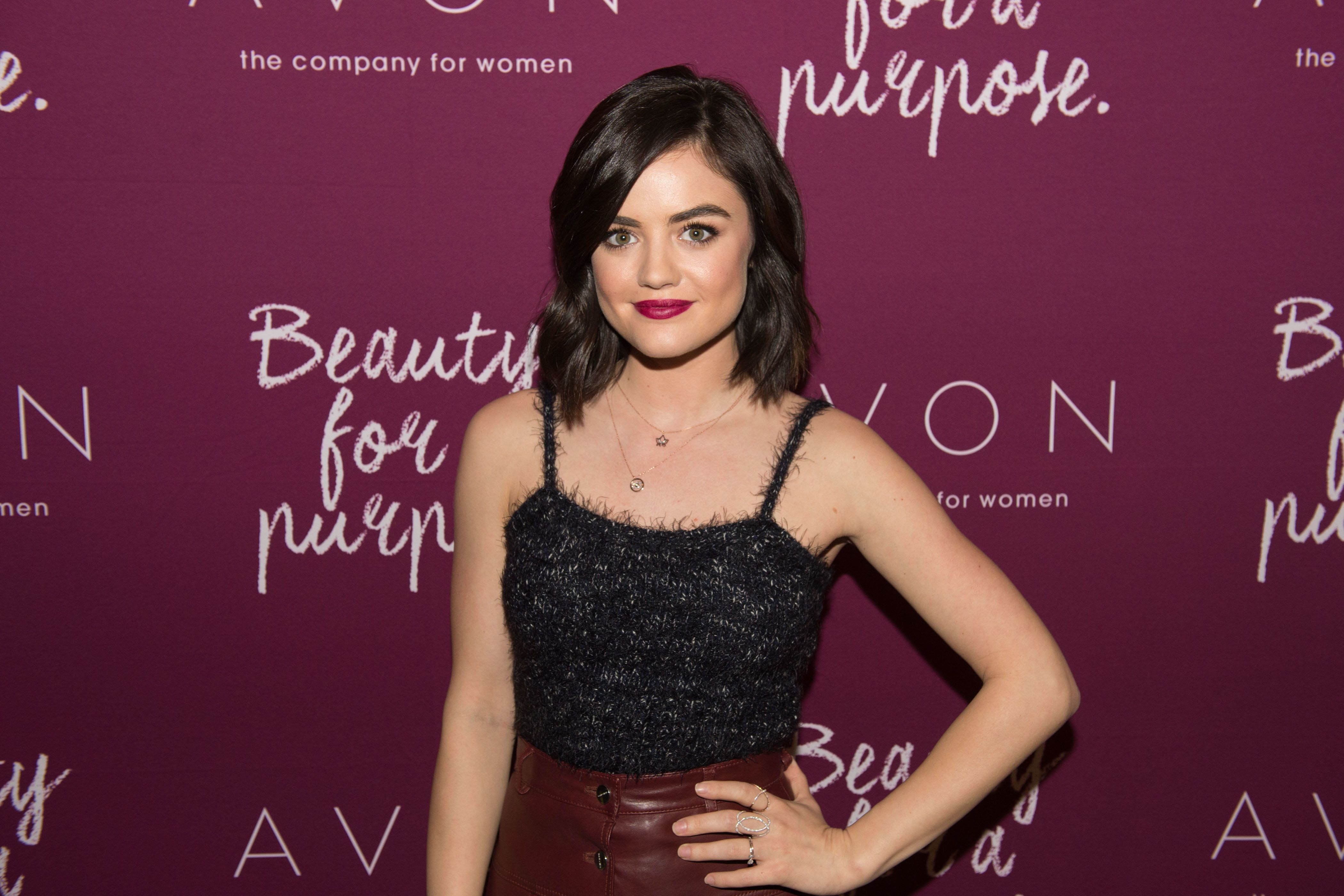 NEW YORK, NY - OCTOBER 28:  Lucy Hale, mark. Brand Ambassador, attends the mark. Holiday Collection event at Avon Products, Inc. New York on October 28, 2015 in New York City.  (Photo by Rob Loud/Getty Images for Avon)