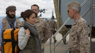 Left to right: Christopher Abbott plays Fahim Ahmadzai, Tina Fey plays Kim Baker and Billy Bob Thornton plays General Hollanek in Whiskey Tango Foxtrot from Paramount Pictures and Broadway Video/Little Stranger Productions in theatres March 4, 2016.
