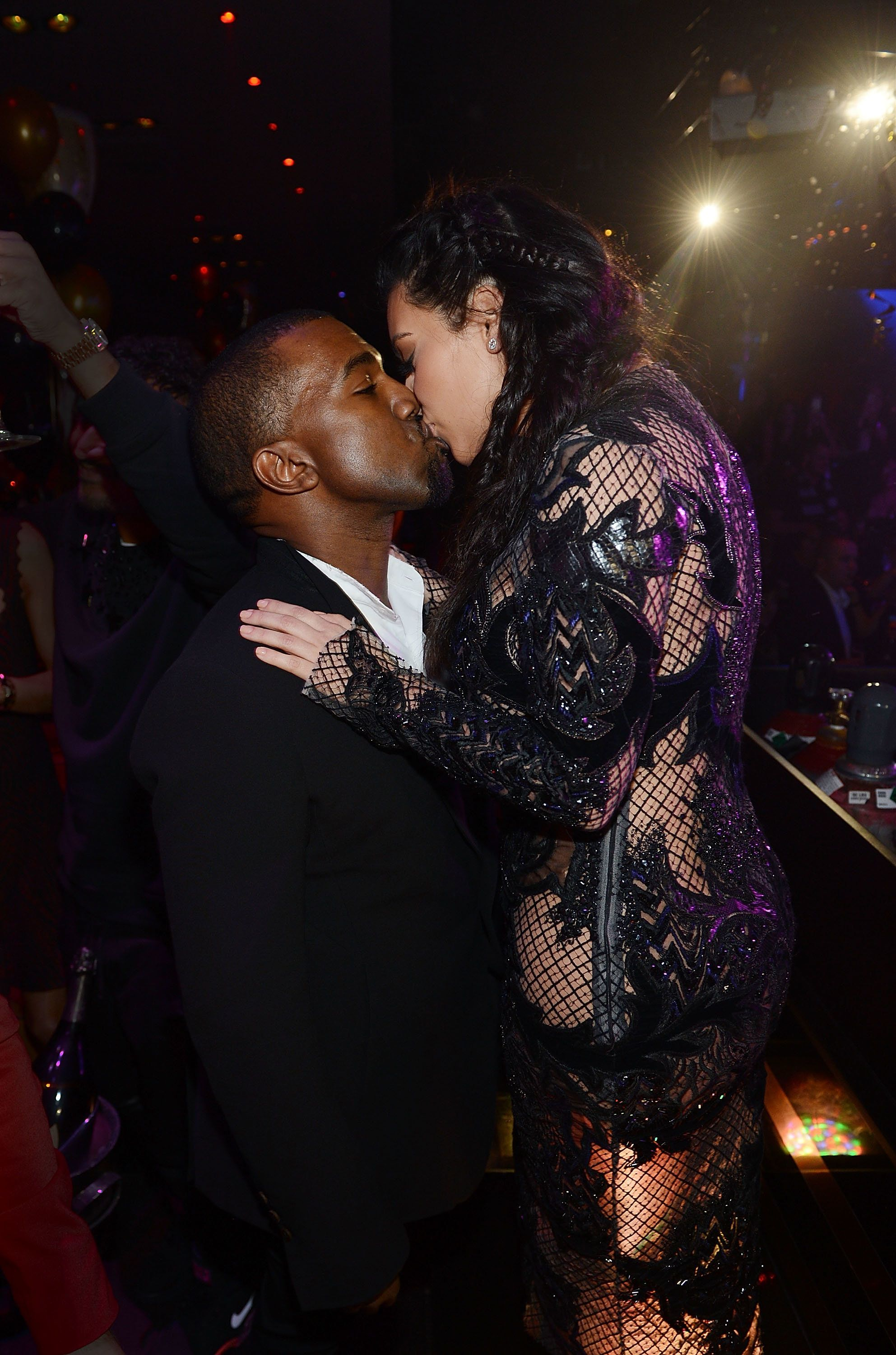 LAS VEGAS, NV - DECEMBER 31:  (Exclusive Coverage) Kanye West and Kim Kardashian celebrate New Year's Eve countdown at 1 OAK Nightclub at The Mirage Hotel & Casino on December 31, 2012 in Las Vegas, Nevada.  (Photo by Denise Truscello/WireImage)