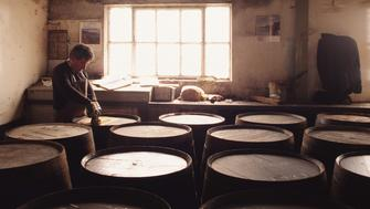 Man in scotch whiskey distillery