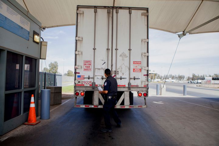 U.S. Customs and Border Protection officers often inspect vehicles at the Calexico East Port of Entry in Calexico, Calif