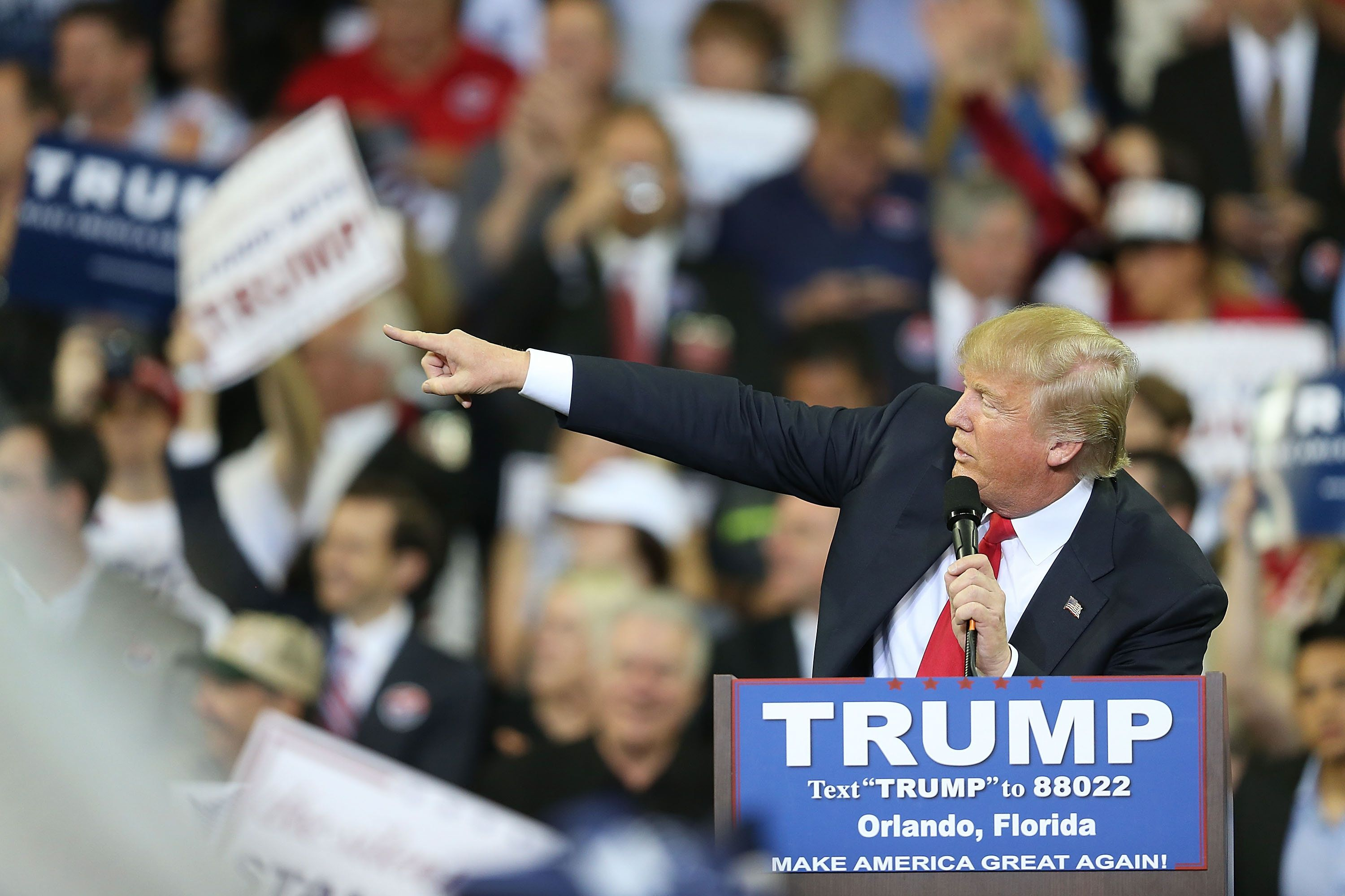 ORLANDO, FL - MARCH 05:  Republican presidential candidate Donald Trump speaks at the CFE Arena during a campaign stop on the campus of the University of Central Florida  on March 5, 2016 in Orlando, Florida.  Primary voters head to the polls on March 15th in Florida.  (Photo by Joe Raedle/Getty Images)