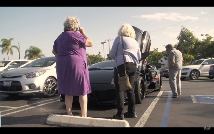 The ladies realize the car's superpower of attracting men.