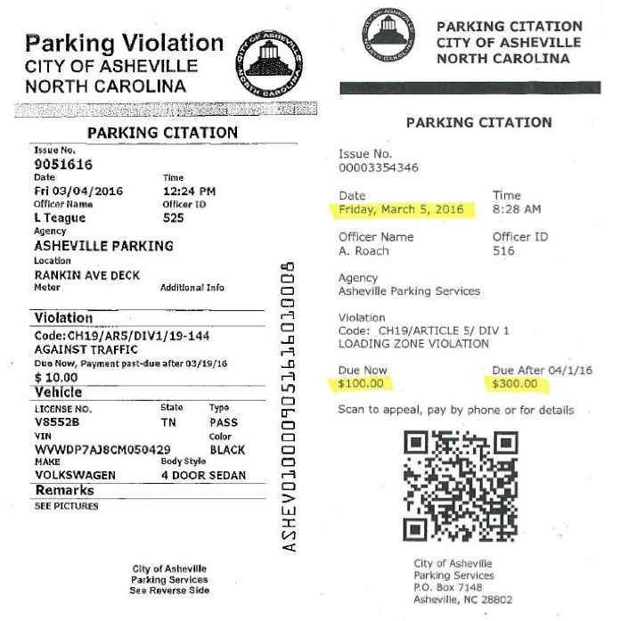 Officials in Asheville, North Carolina, have released images of an actual parking ticket, left, and a fake, Rickrolling