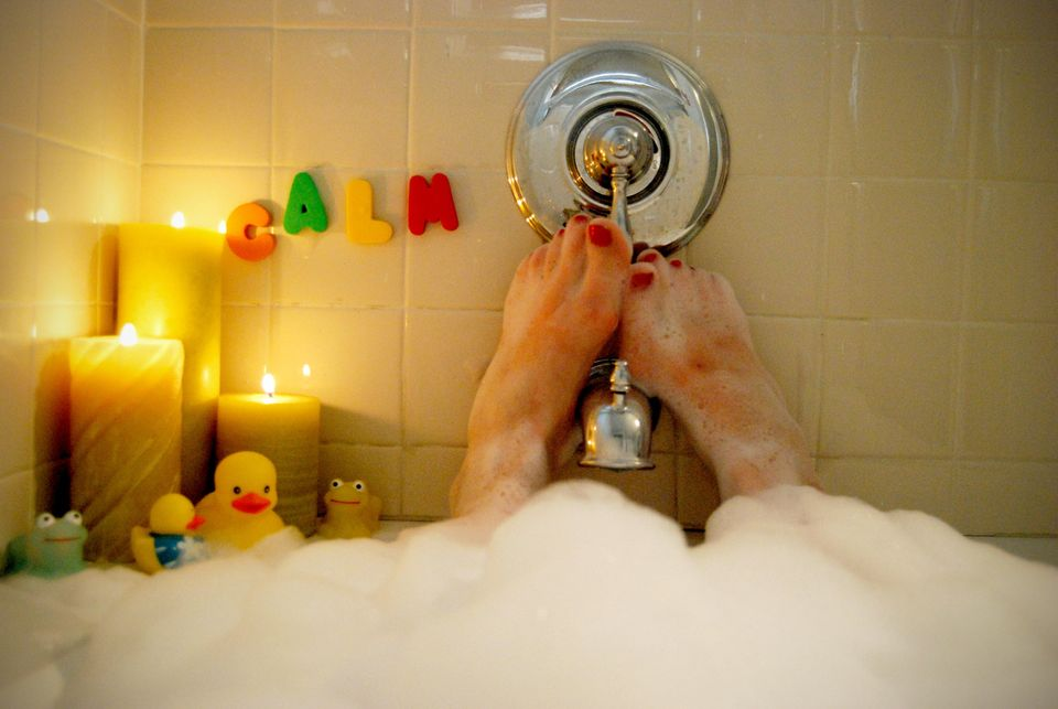 Take a calming bath. Try including some lavender drops to help you relax.