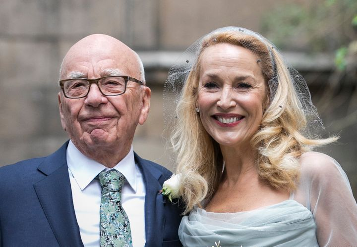 Rupert Murdoch is seen outside the London church where he and Jerry Hall were married, March 5, 2016. Murdoch is not Jew