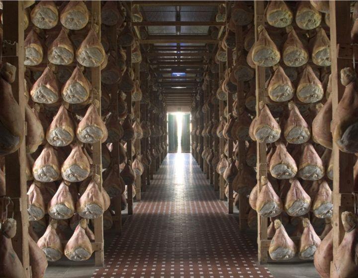 Prosciutto curing in Parma.