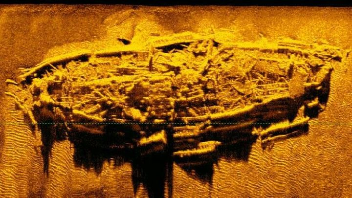 Sonar image of shipwreck discovered in the Atlantic Ocean off the coast of North Carolina.