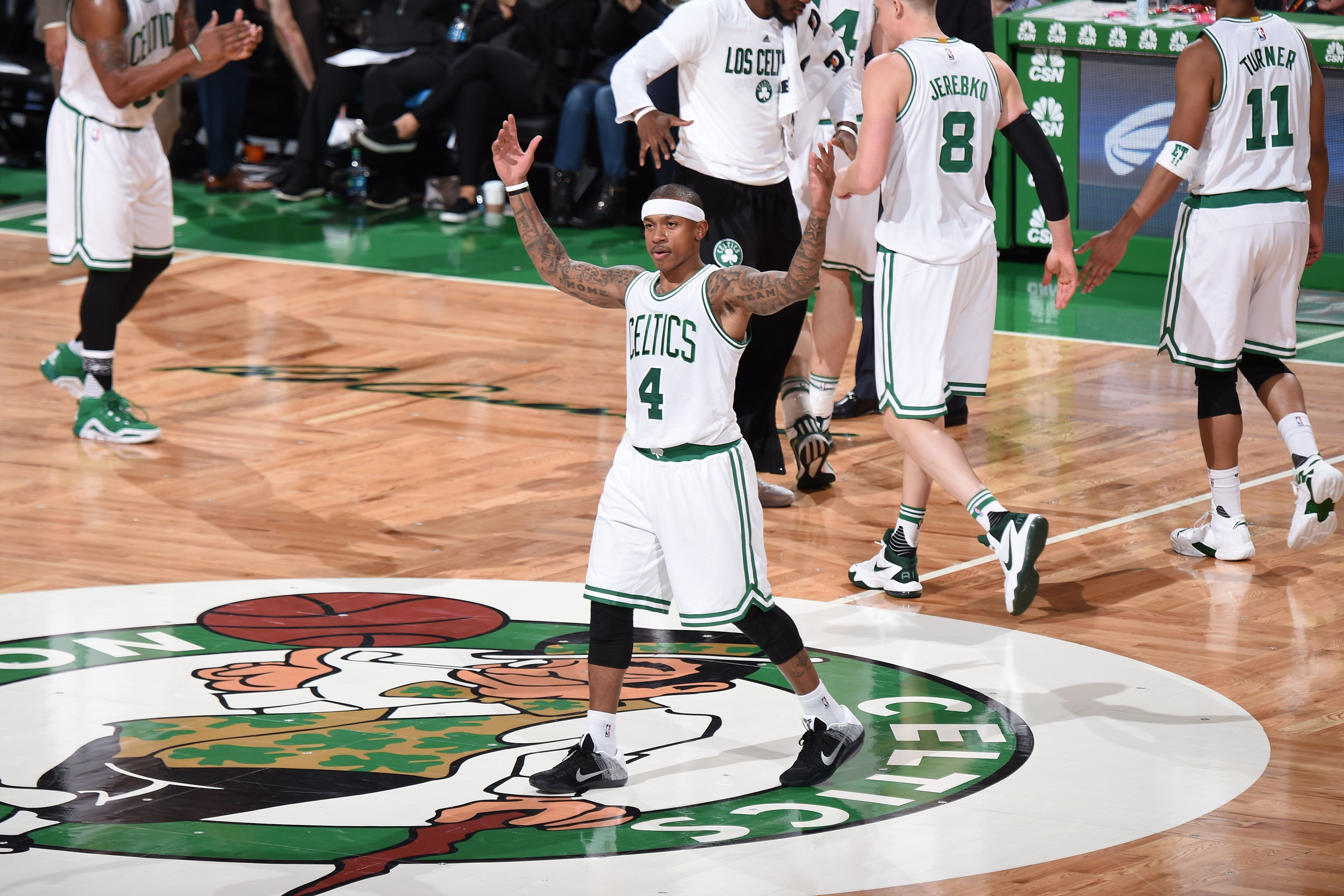 BOSTON, MA  - MARCH 2: Isaiah Thomas #4 of the Boston Celtics during the game against the Portland Trail Blazers on March 2, 2016 at TD Garden in Boston, Massachusetts. NOTE TO USER: User expressly acknowledges and agrees that, by downloading and or using this Photograph, user is consenting to the terms and conditions of the Getty Images License Agreement. Mandatory Copyright Notice: Copyright 2016 NBAE (Photo by Brian Babineau/NBAE via Getty Images)