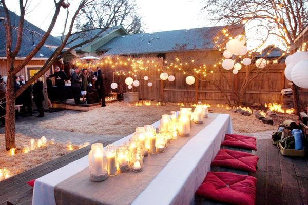 9 hang string lights to create a casual yet elegant atmosphere backyard wedding ideas