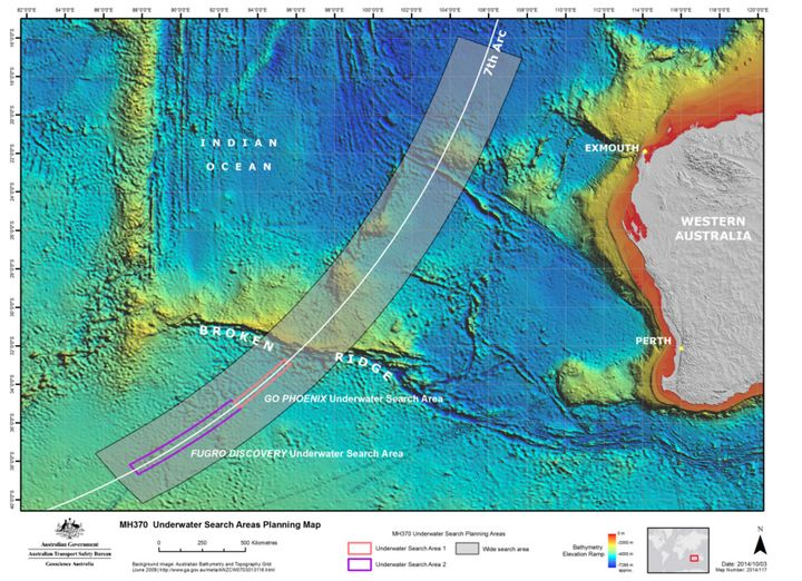 An international team has scoured the sea bed covering some two-thirds of the search zone, shown in a 2014 map from