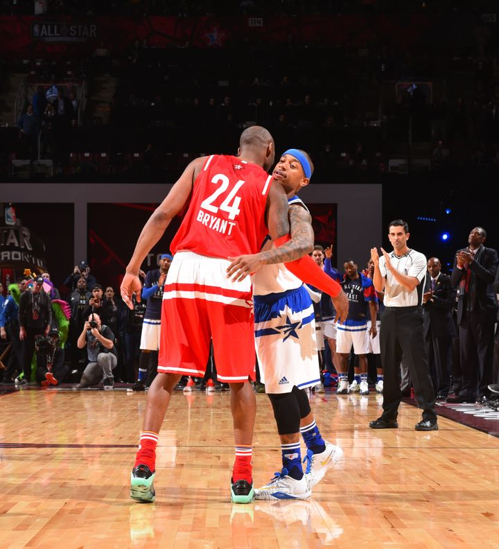 Thomas shares a moment with Kobe Bryant, whom he has long idolized, during the 2016 NBA All-Star Game.