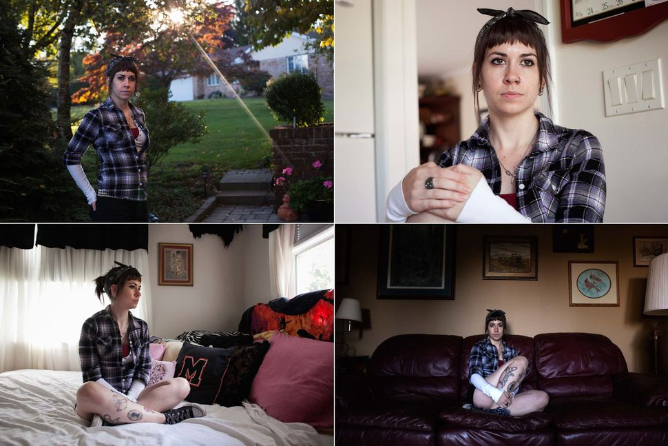 Leigh, a 26-year-old bartender, posed for a portrait in her home in Pennsylvania on September 24, 2012. Leigh said
