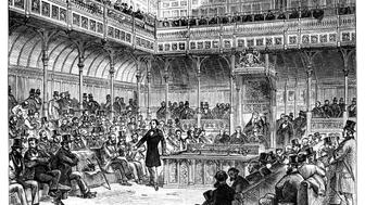 Benjamin Disraeli introducing his reform bill in the House of Commons, c1867. Benjamin Disraeli (1804-1881) served as Chancellor of the Exchequer and as British Prime Minister. His Reform Act of 1867 greatly increased the number of men eligible to vote in elections in the United Kingdom. Illustration from The Life & Times of Queen Victoria, by Robert Wilson, Vol III. (Photo by The Print Collector/Print Collector/Getty Images)