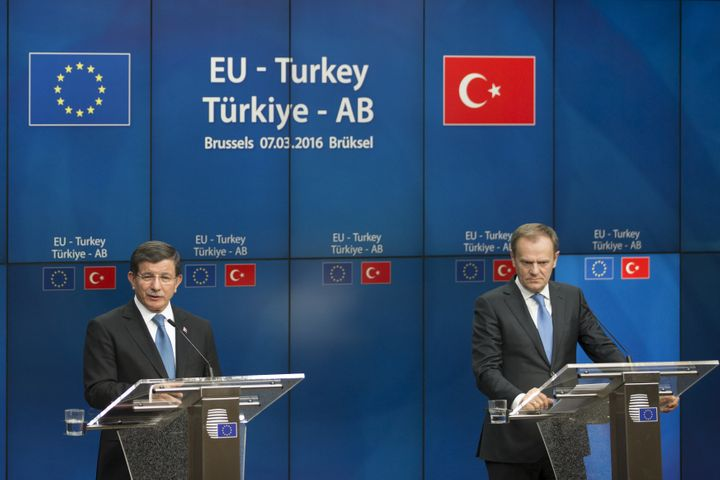 Turkey said it was willing to take back people who enter Europe from Turkey in return for financial aid, faster EU entry talks and quicker visa-tree travel for Turkish citizens.
