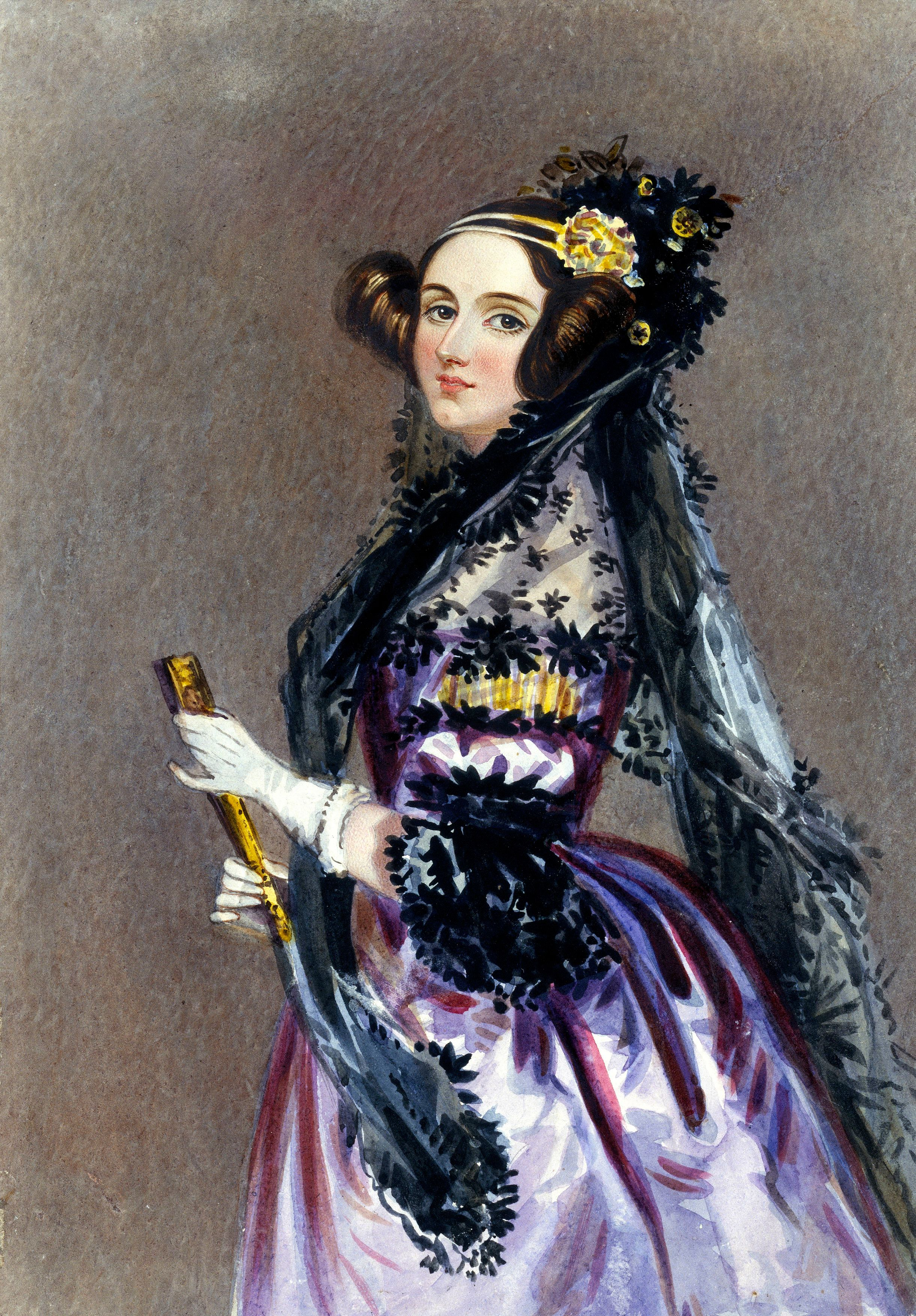 UNITED KINGDOM - JULY 27:  Watercolour portrait by Alfred Edward Chalon of Ada King wearing evening dress with a mantilla and holding a fan. Augusta Ada King, Countess of Lovelace (1815-1852) was the daughter of the great Romantic poet Lord Byron (1788-1824). She was a writer and a trained mathematician. King acquired fame by working with Charles Babbage (1791-1871) on the world's first computer, the �Analytical Engine�, which could carry out many different types of calculations. She designed several computer programmes for the engine which were coded onto cards with holes punched in them - thus becoming the world's first computer programmer. The universally recognised computer language ADA is named after her. Dimensions: 250mm x 183mm.  (Photo by SSPL/Getty Images)