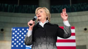 Democratic presidential candidate Hillary Clinton speaks during a rally in Detroit on March 7, 2016. / AFP / Geoff Robins        (Photo credit should read GEOFF ROBINS/AFP/Getty Images)