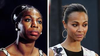 (FILE PHOTO) In this composite image a comparison has been made between Nina Simone (L) and actress Zoe Saldana.  Zoe Saldana will reportedly play Nina Simone in a film biopic by writer and director Cynthia Mort and executive producer Jimmy Lovine.  ***LEFT IMAGE*** UNITED KINGDOM - JANUARY 01:  Photo of Nina SIMONE;   (Photo by David Redfern/Redferns) ***RIGHT IMAGE*** BEVERLY HILLS, CA - SEPTEMBER 21:  Actress Zoe Saldana arrives at the 'Machine Gun Preacher' Los Angeles premiere at Academy of Television Arts & Sciences on September 21, 2011 in Beverly Hills, California.  (Photo by Frazer Harrison/Getty Images for Relativity Media)