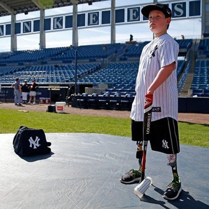 The fourth-grader proved himself while hitting balls at home plateamong the rest of the Yankee players.
